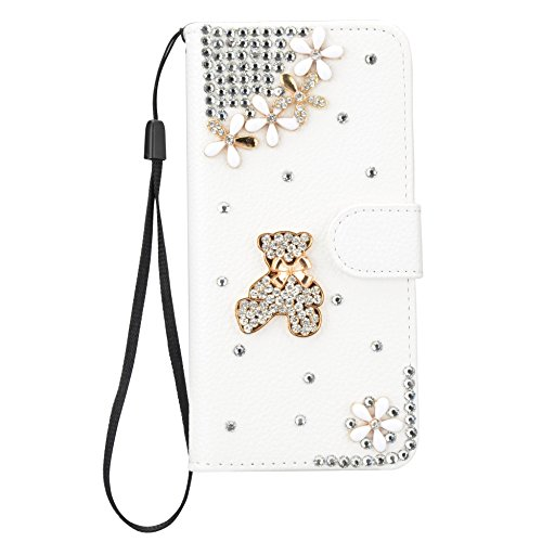 Vandot per iphone 8 Custodia in pelle Protettiva Flip Cover per iphone 8 Fiore Snap-on Magnetico Bookstyle PU Case,3D DIY Bling Bling Lusso Elegante Fantasia Shell + Hairball x 1 - Nero a forma di cuo Strass 32