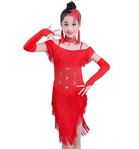 Kostüm Latin Dance Hot - ZYLL TanzsportTanzsport Bekleidung Kinder Latin Dance Kostüme Mädchen Pailletten Fringe Hot Drill Latin Dance Dress Performance Wettbewerb Kostüm (Rose Rot Blau Rot),Red,160CM