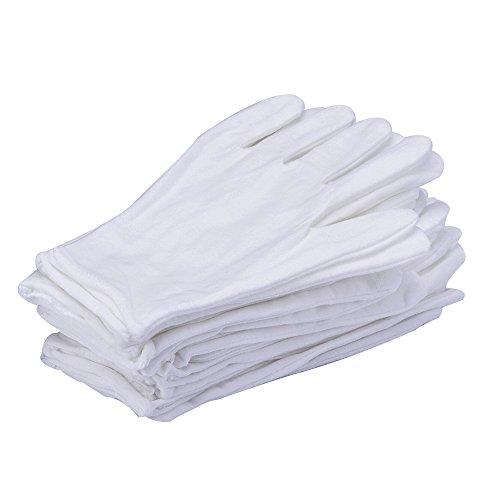 eBoot 12 Pair Weiße Baumwoll Handschuhe Arbeitshandschuhe Stoffhandschuhe Unterziehhandschuhe (Mittel)