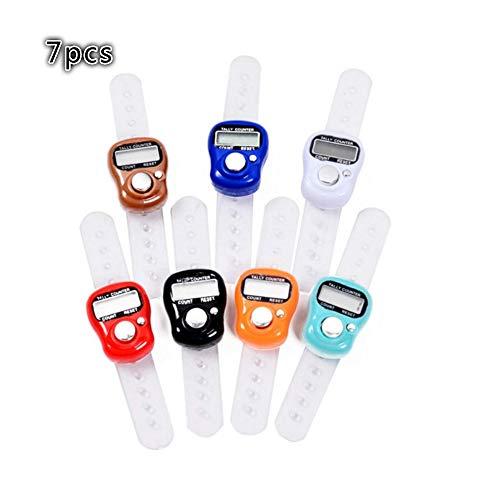 Xinqin Ding 7 Stücke Praktische Mini Electronic Digital Zähler, Finger Ring Golf Digit Stich Marker,Tally Zähler Zufällige Farbe -