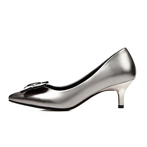 VogueZone009 Femme Pointu Tire Pu Cuir Couleur Unie à Talon Correct Chaussures Légeres Argent