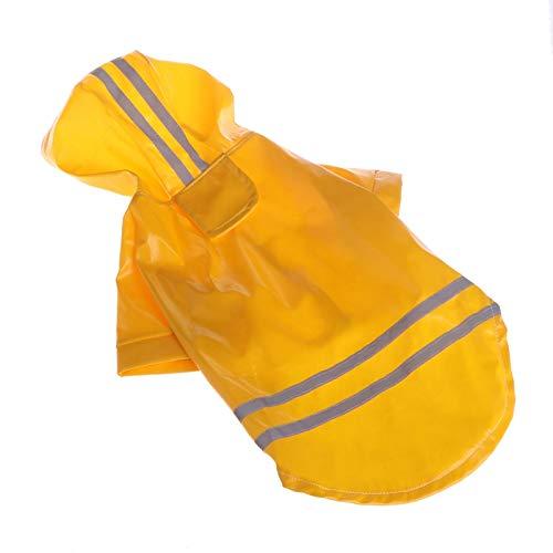 Junlinto Waterproof Dog Waterproof Hood Reflective Band Ropa para Mascotas Little Puppy Medium Yellow Hood