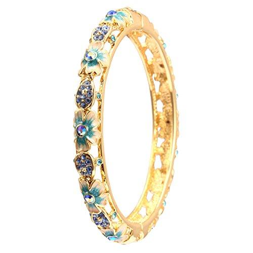 City ouna® elementi di swarovski qualità in lega placcato 18k braccialetto etnico turchese bracciale bangle ampia per donne gioielli regalo con zirconi viola cristallo (cloisonne32-2)
