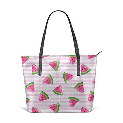 Women's Soft Leather Tote Shoulder Bag Watermelons (pink Stripes) Summer Fruit LAD Fashion Handbags Satchel Purse - Stripe Zip Satchel