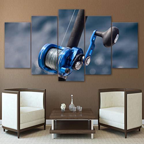 Dekor Druck Leinwand Kunst Leinwand Malerei Poster Wandbild 5 Panel Angelrute Für Wohnzimmer Wandkunst Moderne Rahmen Malerei 40x60 40x80 40x100