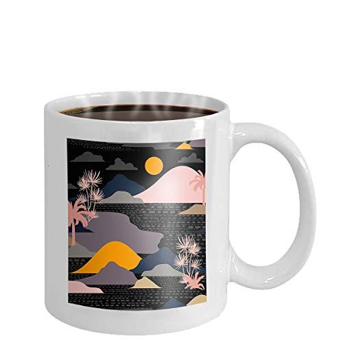 Ocean Blue Cup (Coffee cup mug deep ocean blue color hand drawn line sketch summer islan deep ocean blue color hand drawn line sketch summer island 11oz)