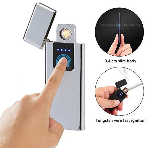 Accendino USB Ricaricabile, Kobwa Slim Fingerprint induzione Plasma Beam Senza Fiamma Accendino, Accendino, Portatile Impermeabile Antivento Arc Accendino, indicatore di Batteria, No butano