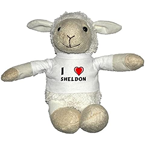 Oveja blanco de peluche con Amo Sheldon en la camiseta (nombre de pila/apellido/apodo)