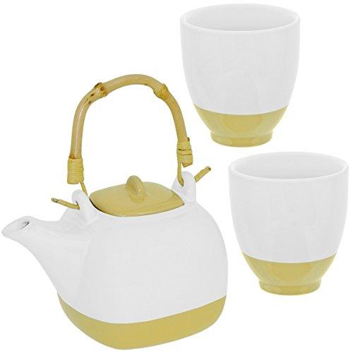 Promobo - Set Ensemble Théière Céramique Avec Anse Bambou Et Deux Mugs Crème
