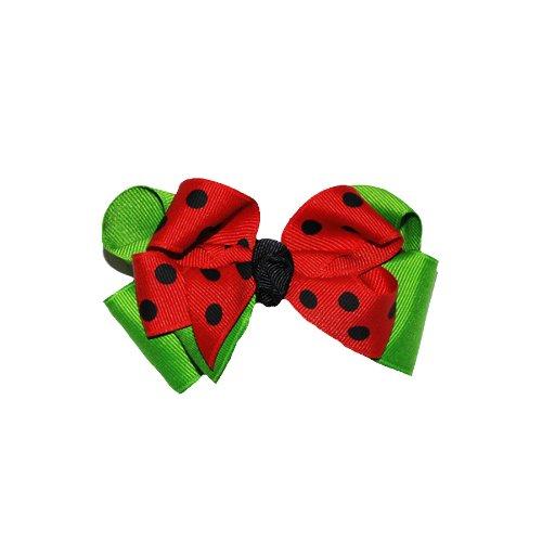 Squishy Pet Products Sprinkles Halsband mit Marienkäfer-Motiv, 7,6 cm, Rot/Schwarz/Grün mit Schleife -