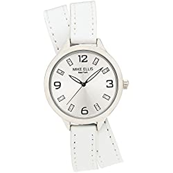 Mike Ellis New York Women's Quartz Watch with White Dial Analogue Display and Leather White - SL3142E7