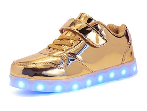 Honeystore Unisex LED Leuchtet Schuhe Sneakers mit USB Einem Geschenk der Kinder Jungen Mädchen Halloween Weihnachten Neujahr Gold 37 CN