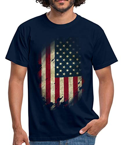 Spreadshirt USA Flagge Vintage Look Amerika Männer T-Shirt, M, Navy