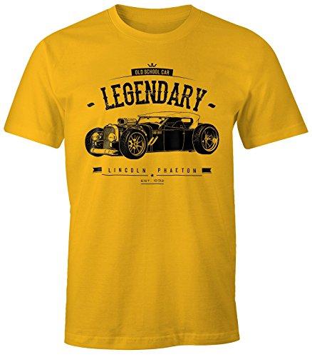 MoonWorks Herren T-Shirt, Hot Rod Retro Auto Car Oldschool Rockabilly, Fun-Shirt gelb M - Hot Herren T-shirts