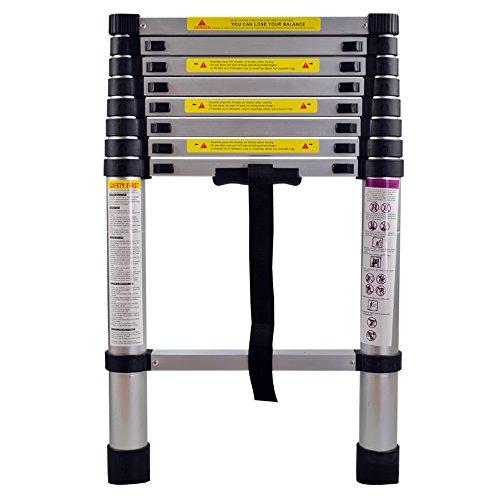 SAILUN® Teleskopleiter Ausziehleiter aus hochwertigem Alu Teleskop-Design Mehrzweckleiter, 9 Sprossen - 74cm bis 2,60m Anlegeleiter, 150 kg Belastbarkeit (2,6m)