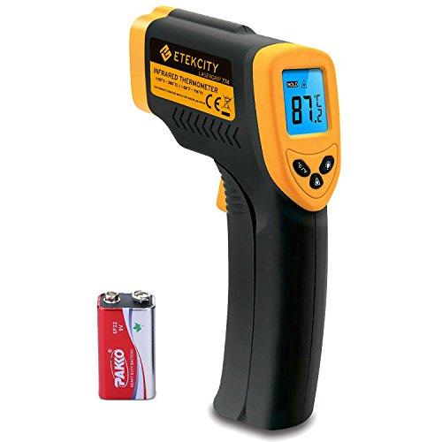 elektrisches thermometer Etekcity Digital Laser Infrarot Thermometer IR Pyrometer berührungslos Temperaturmessgerät Temperaturmesser, -50 bis +380°C, LCD Beleuchtung, Gelb/Schwarz, Lasergrip 774
