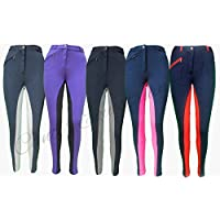"Canter Two Tone Childrens/Kids Horse Riding Jodhpurs/Breeches from 20"" to 30"" Waist (24"" Waist, Black/Grey)"