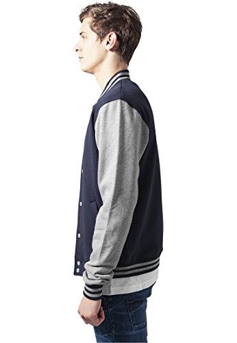 Urban Classics TB207 Herren Jacke Bekleidung 2 Tone College Sweatjacket marineblau/grau