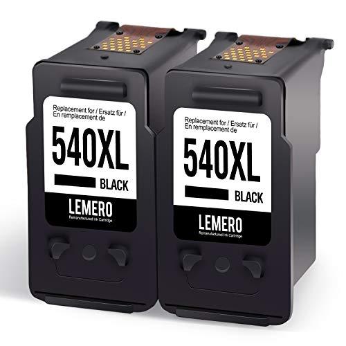 2 LEMERO Rigenerata Cartucce d'inchiostro per Canon PG-540XL per Canon Pixma MG2150 MG2250 MG3150 MG3250 MG3550 MG4150 MG4250 MX375 MX395 MX435 MX455 MX515 MX525 Stampante, 2Nero