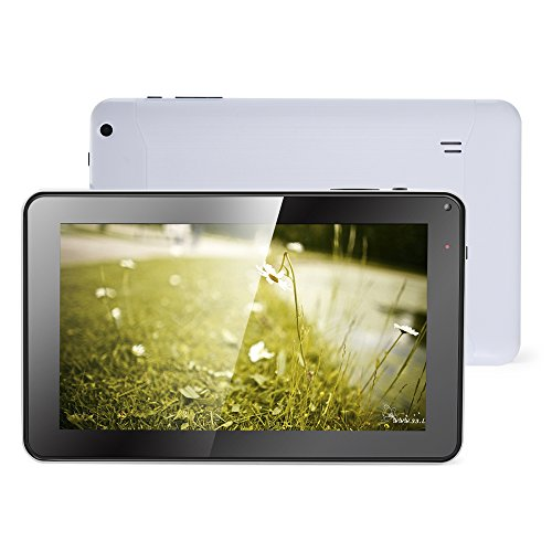 Haehne 9 Zoll Tablet PC - Google Android 4.4 Kitkat, Quad Core Multi-Point Kapazitiv, TFT LCD Touchscreen, Dual Kamera, WiFi, 512MB RAM 8GB ROM, Weiß -