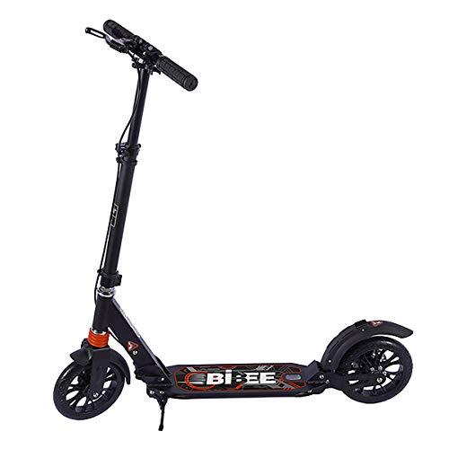 Bibee Brake - Trottinette adulte adolescent grande roue pliable avec béquille suspension et frein à main- Hauteur du guidon ajustable et réflecteur arrière sur garde boue