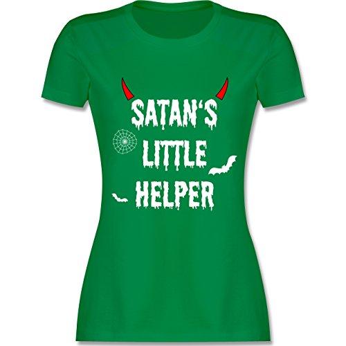 Halloween für Erwachsene - Satan's Little Helper - Halloween - Teufel - Hörner - Fledermaus - L - Grün - L191 - - Tailliertes Premium Frauen Damen T-Shirt mit Rundhalsausschnitt