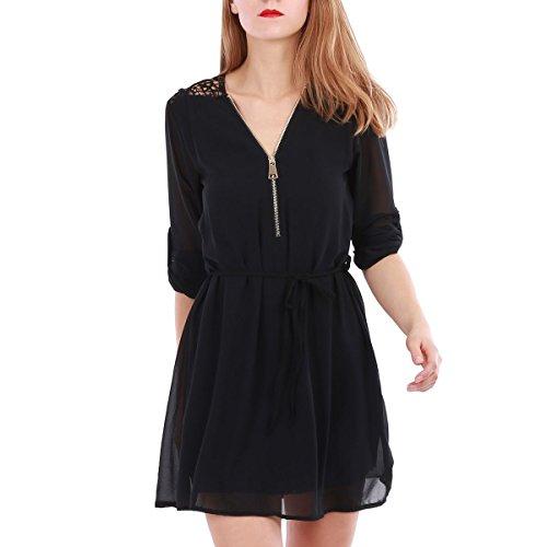 La Modeuse - Robe courte fluide à manches 3/4 muni d'une ceinture en tissu à la taille Noir