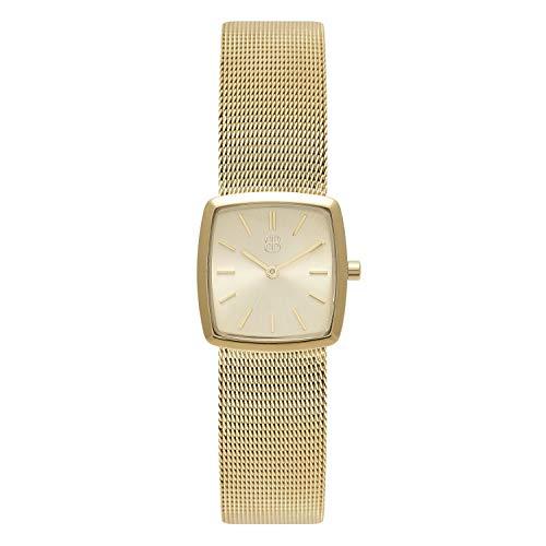 Byron Bond Damen-Armbanduhr - Square Cocktail - 26mm breite elegant Retro-Uhr aus Edelstahl - Goldfarben