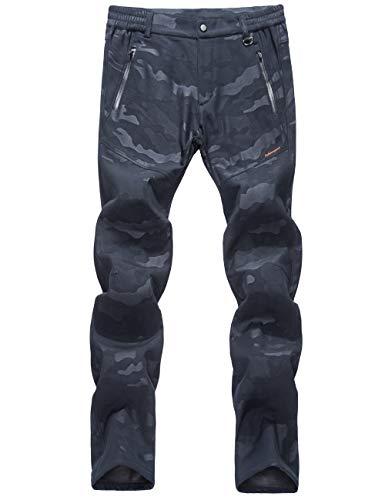 LY4U Frauen Outdoor wasserdichte Softshell Fleece Gefütterte Hose Wandern Skifahren Camping Winddichte Hosen für Herbst/Winter/Frühling -