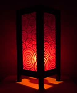 Rare Asie thaï Lampe de Tables Bouddha Style Chevet Rouge Spirale Par Thaïlande
