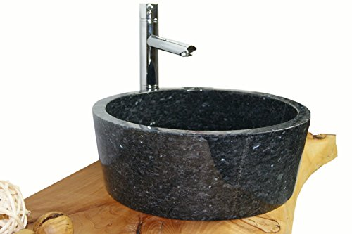 Waschbecken aus Naturstein, Granit, Model Kairo, Pearl Blue, Ø42cm -