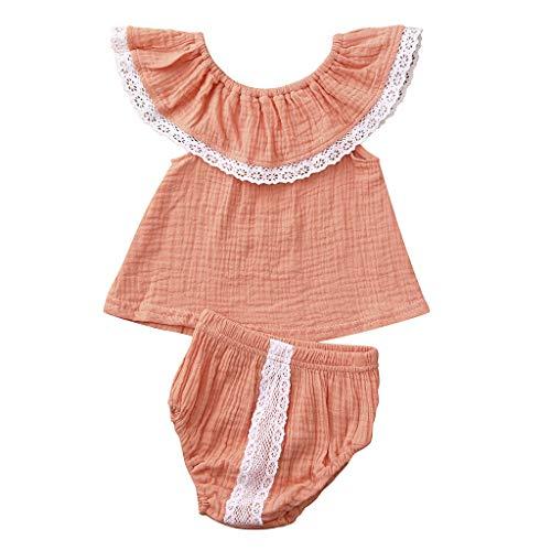 Zegeey Baby MäDchen Bekleidungssets Outfits Sommer Schulterfrei Einfarbig Tops T-Shirts Tee Blusen Shorts Sets Geburtstag Geschenk AnzüGe 2-Teiliges(Rosa,60-70cm)