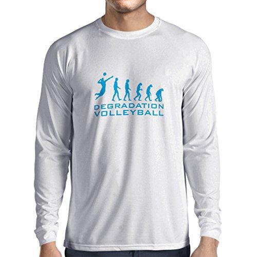 lepni.me T-Shirt Manches Longues Homme Dégradation du Jeu de Volley-Ball, Cadeau d'humour pour Joueur de Sport (XX-Large Blanc Bleu)