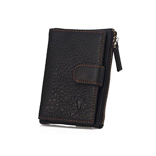 Xingxiu Männer Retro Reißverschluss Leder Brieftasche Kurze Buckle Purse Aufbewahrungstasche (Farbe : Schwarz) (Herren Leder Brieftasche Hipster)