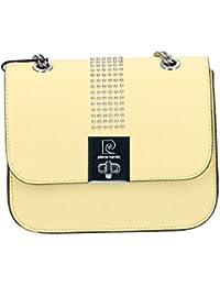 Bolsa mujer de hombro con cadena PIERRE CARDIN amarillo cuero Made in Italy N989