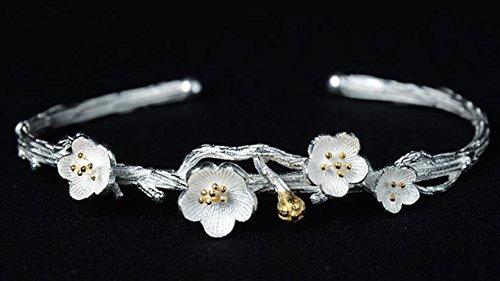 &QQ Fatto a mano, lucidato a mano argento sterling 925, Cherry Blossom forma bracciali, gioielli, fresco, classico stile retrò cinese, regalo creativo