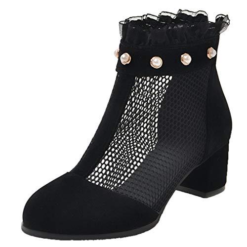AIYOUMEI Damen Sommer Stiefeletten Blockabsatz 5cm Chunky Heels Ankle Boots mit Perlen Sommerschuhe Schwarz 40 EU -
