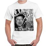 CHEMAGLIETTE! T-Shirt Divertente Uomo Maglietta con Stampa Frasi Film Fantozzi Chi Ha Fatto Palo, Colore: Bianco, Taglia: L