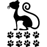 Wandtattoo - Wandsticker - Auto Aufkleber ***Katze 01/2 inkl. Pfotenset*** - (Größen und Farbauswahl)