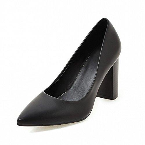 Dimaol Femmes Chaussures En Simili-cuir Printemps Automne Confort Nouveauté Talons Chunky Talon Pointu Toe Pour Casual Wear Marron Noir Beige Noir
