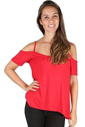 Damen Hoch Niedrig Schulterfrei Riemchen Flügelärmel Bardot Meerjungfrau-linie Rücken Split Träger Hemdchen Top T Shirt Übergrößen Rot