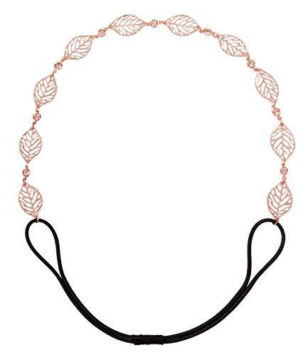 SIX Damen Haarschmuck, Haarband, Kopfkette, Accessoire, Metall-Blätter, Römer, Karneval, Strass, elastisch, roségold (456-703)