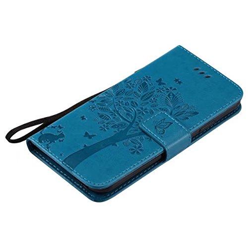 EKINHUI Case Cover Retro Art-Katze und Baum prägeartiges Muster-Kunstleder-Kasten-Abdeckung mit Kartenschlitzen und Lanyard für iPhone X ( Color : Gray ) Blue