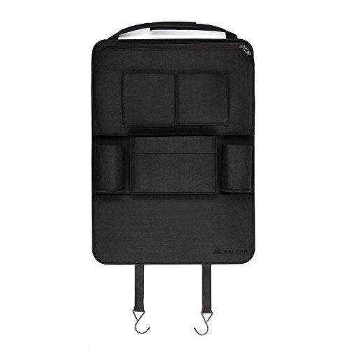 Auto-Rückenlehnenschutz Salcar Auto Organizer (15% zweiten gekauften Artikel) Multifunktionale Stuhl Zurück Aufbewahrungstasche für Kinder Kick Matte für iPad,iPhone,DVD,Getränke - Schwarz
