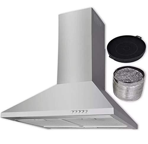 AEVOBAS Dunstabzugshaube 550 m³ / h, Edelstahl (Silber), Wandhaube mit LED Beleuchtung, von 300 mm auf 540 mm erweitertbar, mit 5 Druckknöpfen, inkl. Abzugshaube, Kohlefilter und Entlüftungsrohr -