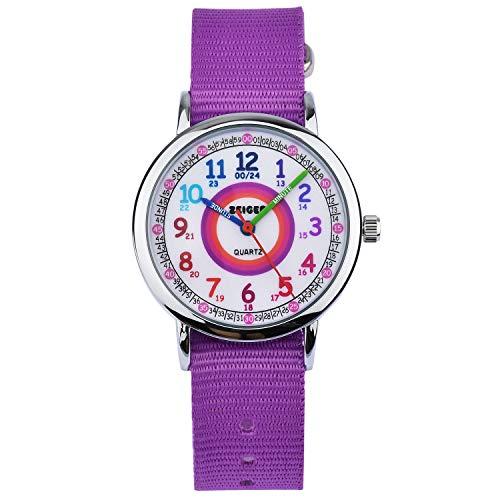 Kinder Armbanduhr Analog Uhren Zeiger Mädchen Kinderuhr Armbanduhr Mädchen Kinder Lernuhr Lila Nylon Easy-Read time Teacher zum Uhrzeit Lesen Lernen für Kinder KW108-NEW