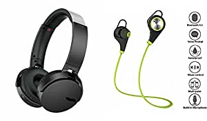 MIRZA Extra Extra Bass XB450 Headphones & Bluetooth Headset for MICROMAX CANVAS BEAT(XB 450 Headphones,With MIC,Extra Bass,Headset,Sports Headset,Wired Headset & Jogger Bluetooth Headset,Sports Headset,Gym Headset )