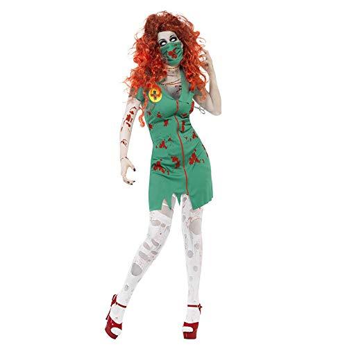 PRTQI Halloween-Kostüm Erwachsene Horror Blutige Rolle Spielen Krankenschwester Kleidung,M