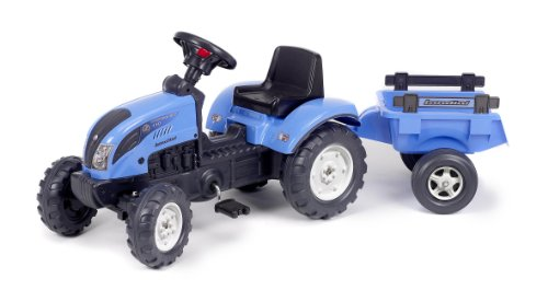 *Falk Kindertraktor Trettraktor Landini blau mit Anhänger ab 2 Jahren*