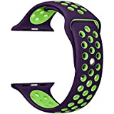 M Memore Replacement Leather Strap (Purple And Green)